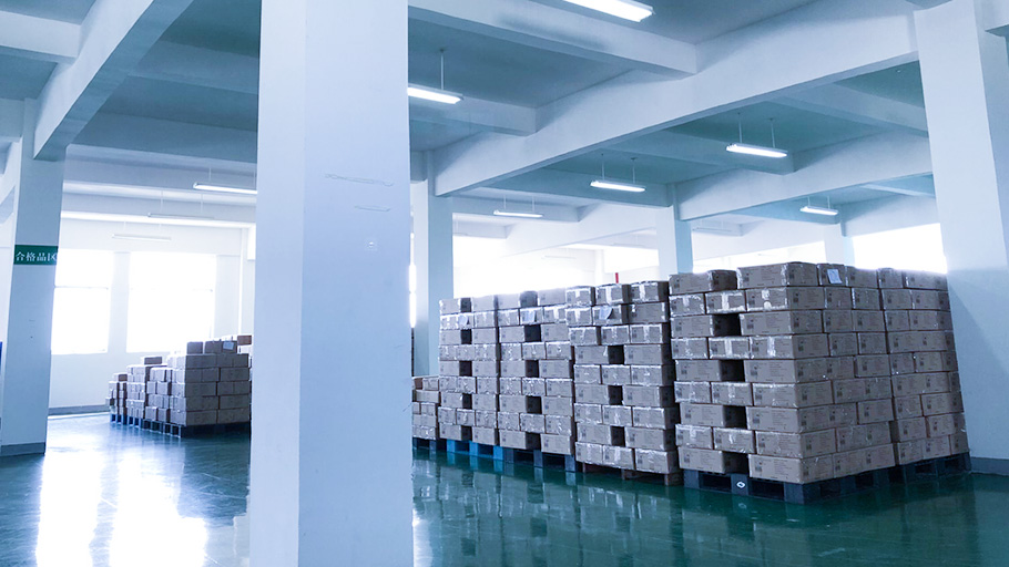 Well-packed hand sanitizers in iYUBO's warehouse
